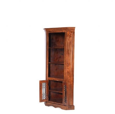 Jali Sheesham Wood Corner Display Unit